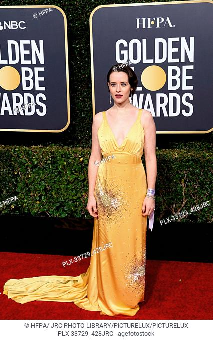 Golden Globe nominee Claire Foy attends the 76th Annual Golden Globe Awards at the Beverly Hilton in Beverly Hills, CA on Sunday, January 6, 2019