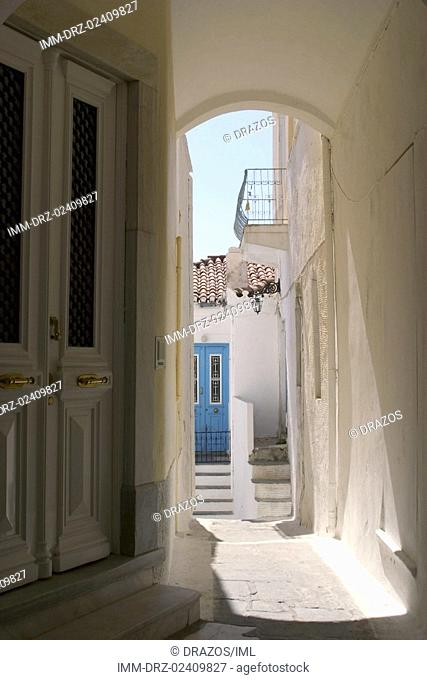 Andros Town, narrow alley, house, door  Andros, Cyclades, Greece