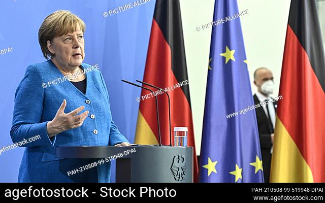 08 May 2021, Berlin: German Chancellor Angela Merkel speaks at a press conference on the informal EU summit and the EU-China summit