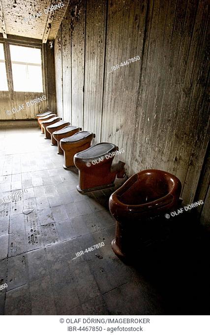 Toilets, Memorial Concentration Camp Sachsenhausen, Oranienburg, Brandenburg, Germany