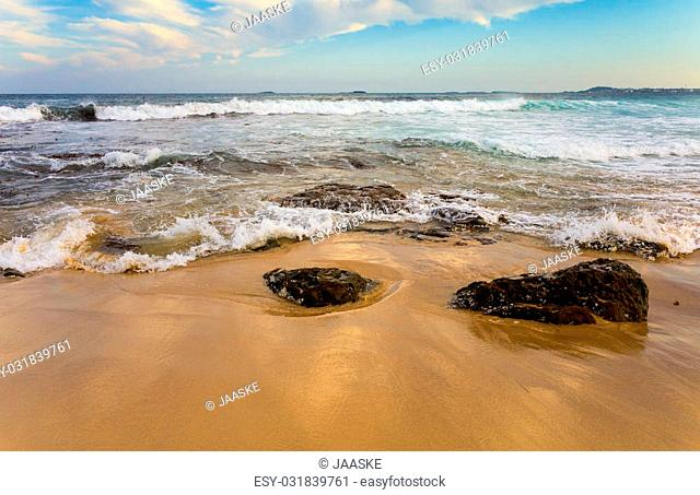 Waves Crashing onto Sand on a Pacific Ocean Beach in Wollongong Australia