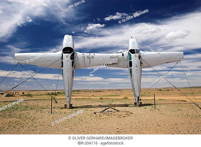 Sculpture with two old airplanes in the outback, South Australia, Australia