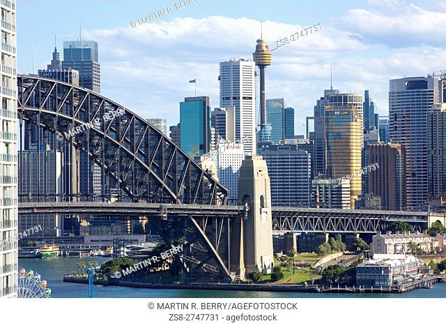 Sydney cityscape and harbour bridge, New South Wales,Australia