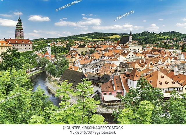 View of the old town of Cesky Krumlov, the Castle Cesky Krumlov, St. Jost church, the River Vltava and the St. Vitus Church in Bohemia, Jihocesky Kraj