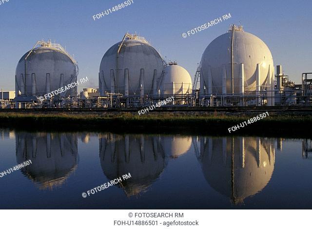 Sphereical Storage Tanks Reflected in Water