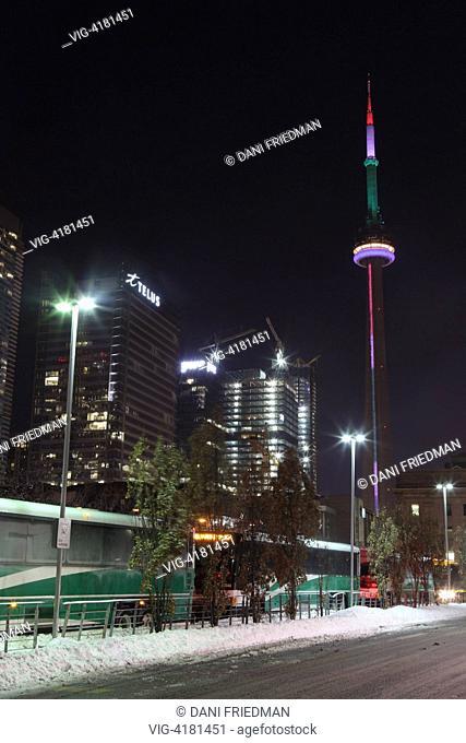 The CN Tower illuminated at night in Toronto, Ontario, Canada. - 05/12/2013