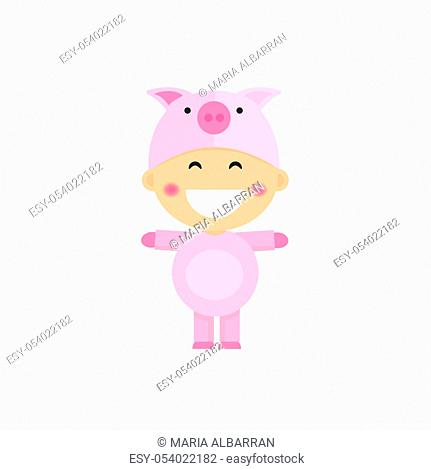 Isolated boy dressed as a piggy. Vector illustration