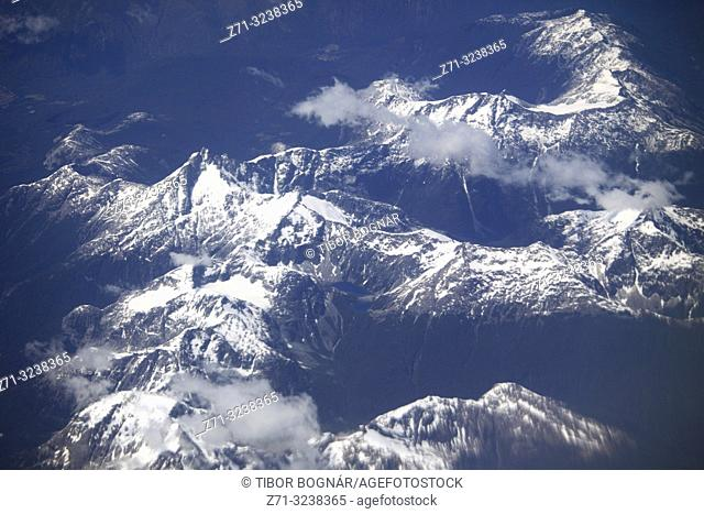 Chile, Andes, mountains, aerial view,