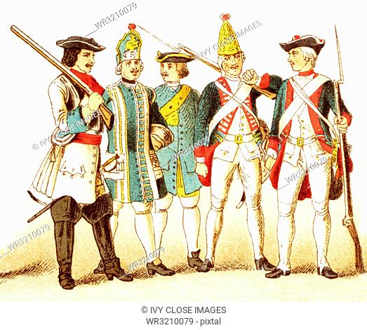 The Figures represented here are Germans and Prussians and are, from left to right: a Brandenberg cuirassier in 1700, a Prussian infantry musician in 1704