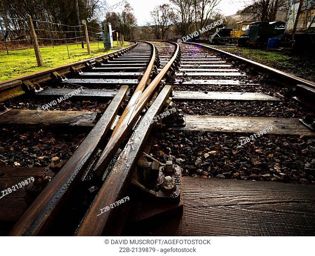 Close up of rails at Peak Rail vintage railway, Derbyshire, UK