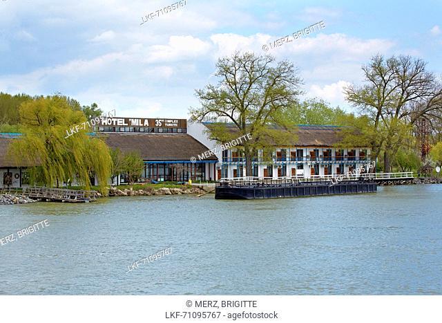 Hotel Mila 35 in the Danube Delta at the Tulcea branch of the Danube , Romania , Europe