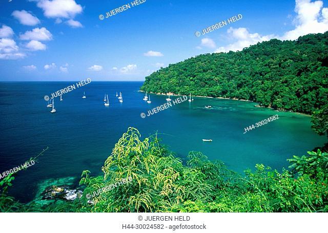 Tobago, Charlotteville, Pirat's bay, sailing boats
