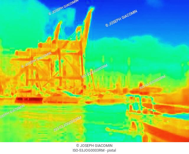 Thermal image of industrial harbor