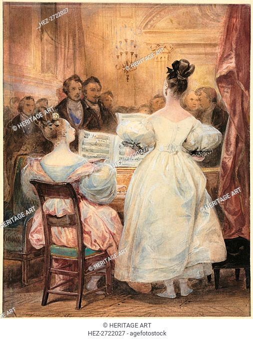 A Concert: Laura Devéria Singing, 1831. Creator: Eugène François Marie Joseph Devéria (French, 1805-1865)