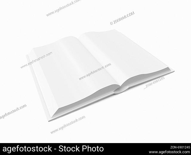 Opened blank book or notebook, template, isolated on white background