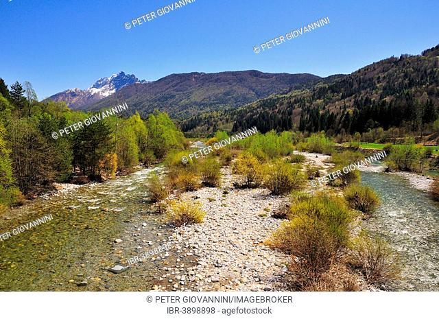 Gravel bank on the Melezza river, Centovalli, Canton of Ticino, Switzerland