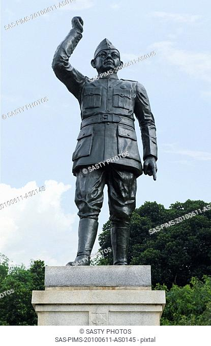 Low angle view of a statue of Subhas Chandra Bose, Bangalore, Karnataka, India