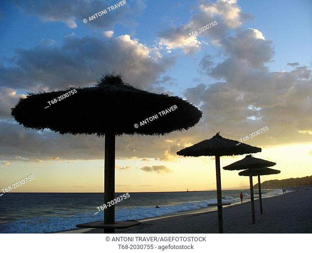 Umbrellas on the beach, Altafulla, Tarragona, Spain1015