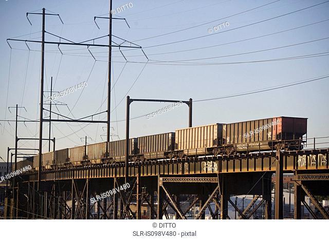 Freight train, Benjamin Franklin Bridge, Philadelphia, USA