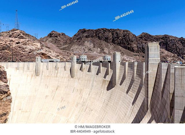 Dam wall of Hoover Dam, Hoover Dam, Arizona, Nevada, USA
