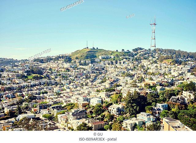 Twin Peaks and Sutro tower, San Francisco, California, USA