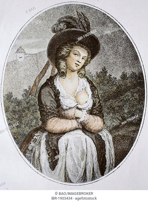 Lady, English colour engraving from the 18th century, historic color lithograph circa 1870