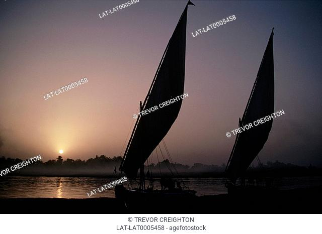Sunset. Pink darkening sky. Sun on horizon. Feluccas. Traditional sailing boats. One sail. Silhouettes