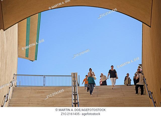 Pilgrims entering the Sanctuary of Saint Pio, San Giovanni Rotondo, Foggia, Italy