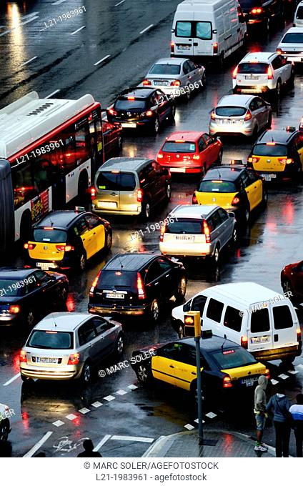 Traffic jam. Barcelona, Catalonia, Spain