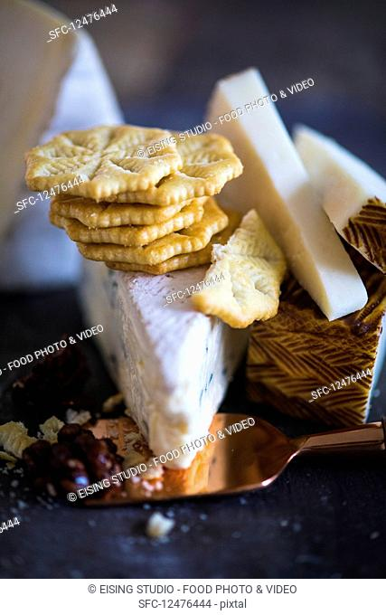 Crackers and various tYespes of cheese