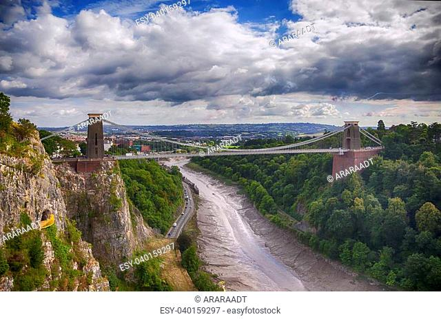 panorama of Bristol bridge near Clifton village