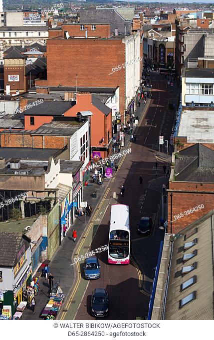 UK, Northern Ireland, Belfast, elevated view of Castle Street