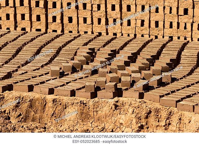 Mud bricks factory in Madagascar, drying bricks in the field