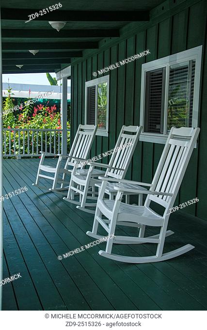 Rocking chairs on a coffee plantation porch in Hawaii
