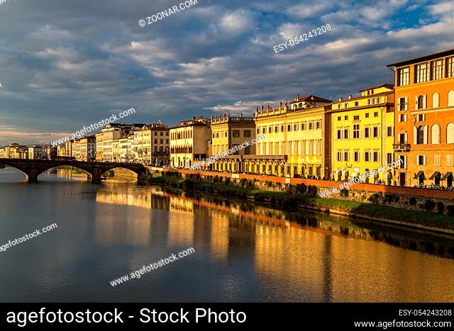 View of the embankment of the river Arno in Florence, Italy