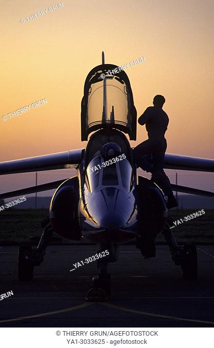 France, Meurthe et Moselle (54), air base of Nancy-Ochey, French aerobatic team La Patrouille de France, Sunset on Alpha Jet's pilot at the end of an airshow