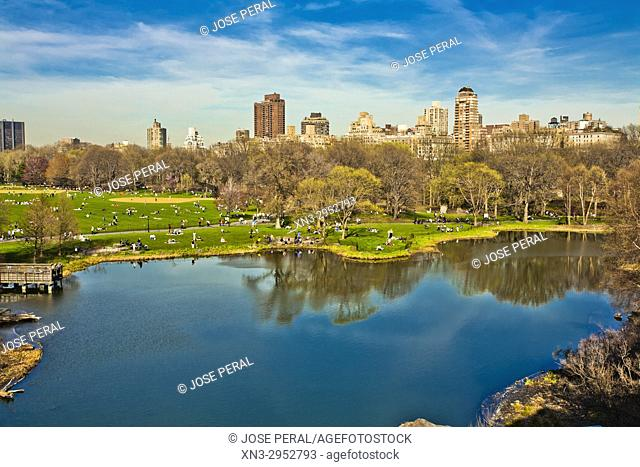 Turtle Pond from Belvedere Castle, Central Park, Manhattan, New York City, USA