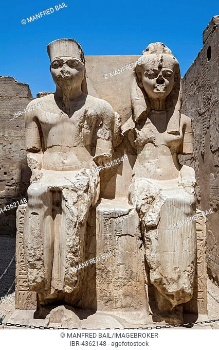 Statues of King and Queen, Temple Complex Karnak Temple, Karnak, Luxor, Egypt