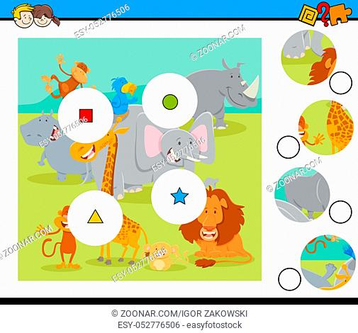 Cartoon Illustration of Educational Match the Pieces Jigsaw Puzzle Game for Children with Wild Safari Animal Characters