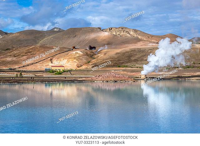 Blue lake in Myvatn Geothermal Area in Reykjahlid town in the north of Iceland