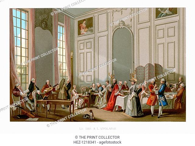 Le the a L'Anglaise, (1885). An 18th-century scene: English Tea and a Society Concert at the House of the Princesses De Conti