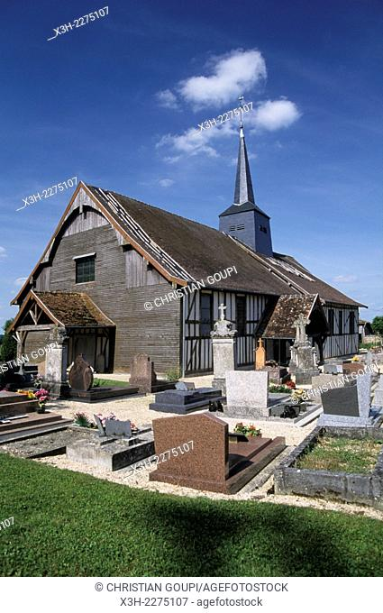 half-timbered church of Drosnay, Marne department, Champagne-Ardenne region, France, Europe