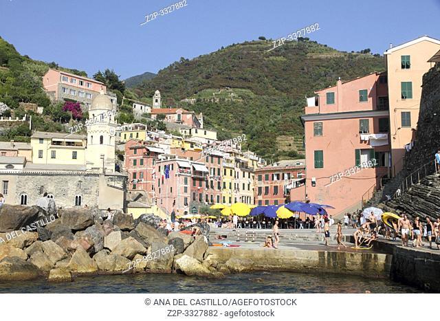 VERNAZZA ITALY-JULY 18, 2015: Harbor in the Ligurian coast on July 18, 2015 in Vernazza Cinque Terre La Spezia Italy