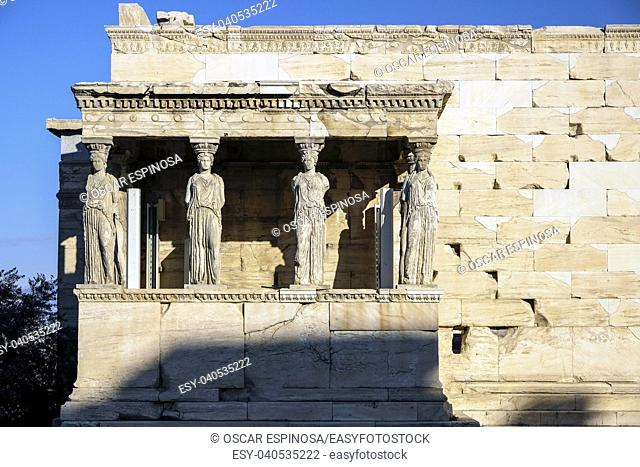 Porch of the Maidens or Caryatids of Erechtheion Temple in Athens, Greece