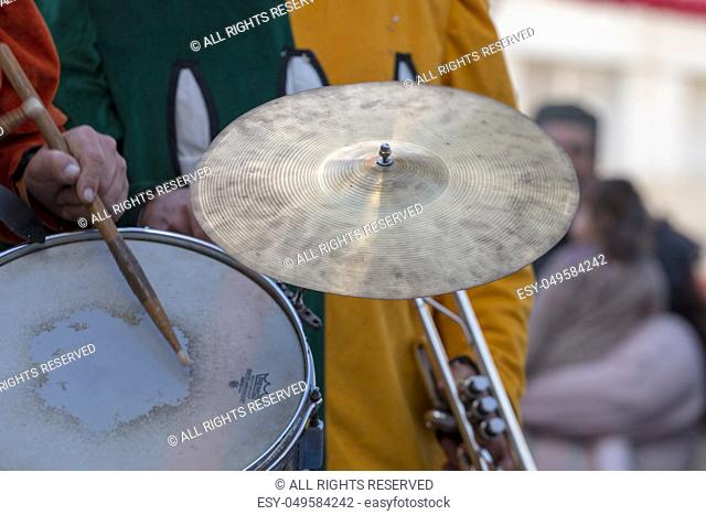 Close up view of Carnival (Carnaval) Parade festival music band percussion instrument
