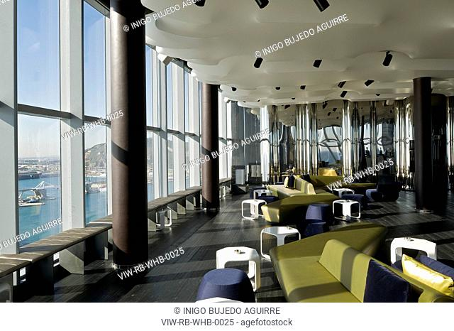 RICARDO BOFILL TALLER DE ARQUITECTURA HOTEL W BARCELONA DAY LIGHT INTERIOR VIEW OF ECLIPSE BAR SITUATED AT TOP FLOOR, BARCELONA, HOTEL, Architect2010
