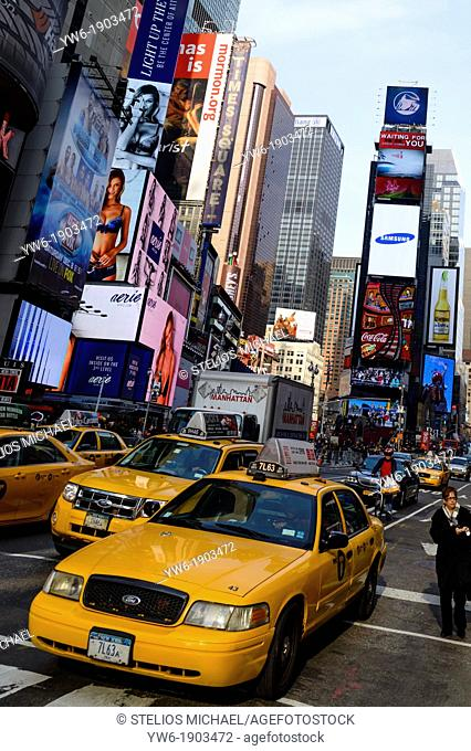 Times Square with taxi cabs, New York, USA