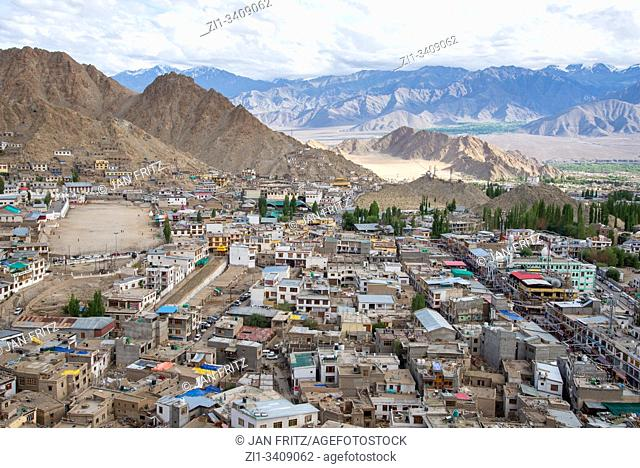 view at Leh, Ladakh, India from old Palace at top of hill