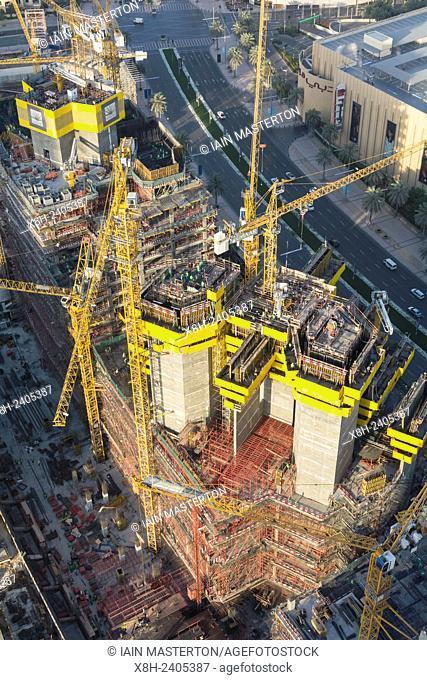 construction site of high-rise apartment skyscraper tower in Dubai United Arab Emirates