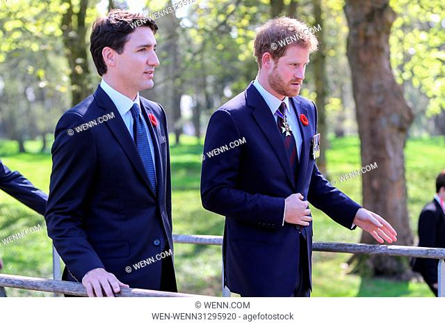 The Prince of Wales, The Duke of Cambridge and Prince Harry attend the Centenary of the Battle of Vimy Ridge Featuring: Prince Harry, Justin Trudeau Where: Vimy